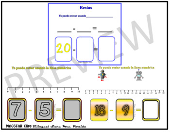Seesaw Subtraction 0-20 Using a Number Line PNG Templates Spanish Version