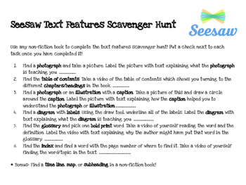 Seesaw Text Features Scavenger Hunt