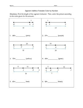 Segment Addition Postulate Color by Number