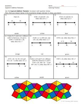Segment Addition Postulate Coloring Activity