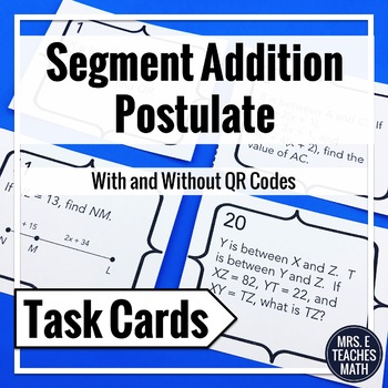 Segment Addition Postulate Task Cards