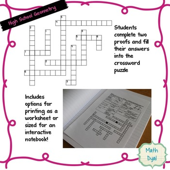 Segment Addition Geometry Proofs Crossword Puzzle By Math Dyal Tpt