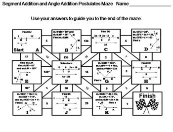 Segment Addition and Angle Addition Postulates Activity ...