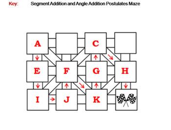 Segment Addition and Angle Addition Postulates Activity: Math Maze