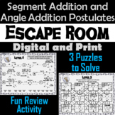 Segment and Angle Addition Postulates: Geometry Escape Room - Math
