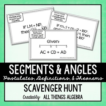 Segments and Angles (Properties, Definitions, Postulates) Scavenger Hunt