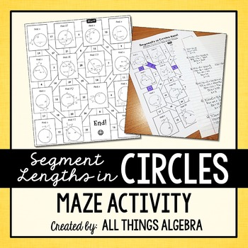 Segment Lengths In Circles Chords Secants And Tangents Maze Tpt