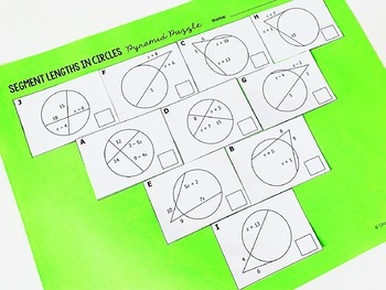 Segment Lengths in Circles (Chords, Secants, and Tangents) Pyramid Sum Puzzle