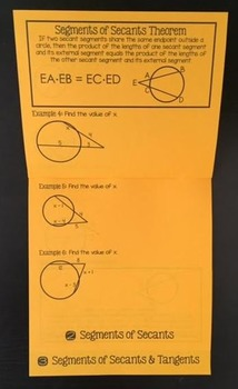 Segment Lengths in Circles (Geometry Foldable)