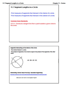 Segment Lengths in a Circle (Lesson with Homework)