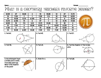Segment Relationships in Circles Activity