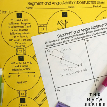 Segment and Angle Addition Postulates - Maze! by The Math ...
