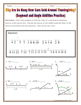 Addition and Angle Addition Postulates Thanksgiving Riddle Worksheet
