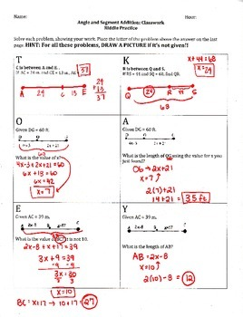Segment and Angle Addition Riddle!