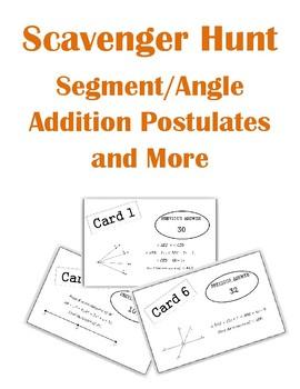 Segment and Angle Addition Scavenger Hunt Activity