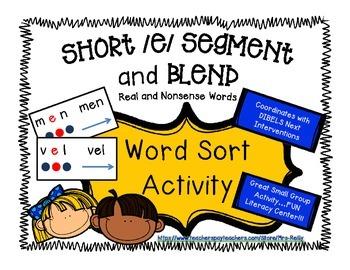 Segment and Blend - Short e CVC - Real and Nonsense Words
