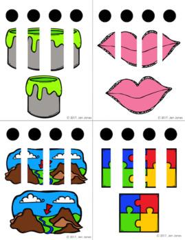Segmenting & Blending Task Cards (3 & 4 Phonemes)