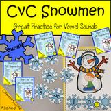 Segmenting  cvc Words with Short Vowels Snowman Game BUNDLE