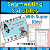 Segmenting Syllables With Super Heroes - Boom Cards and Worksheets