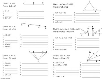Segments and Angles Proofs Foldable