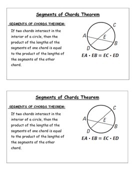 Segments of Chords Theorem Class Notes