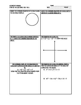 Segments of a Circle AND Equations of Circles Notes