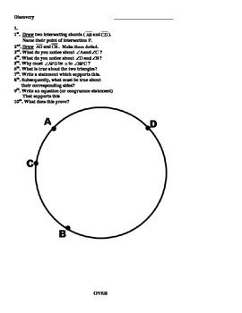 Segments of a Circle Discovery Activity