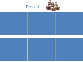 Segregating foods eaten for breakfast/lunch/dinner/snack/dessert