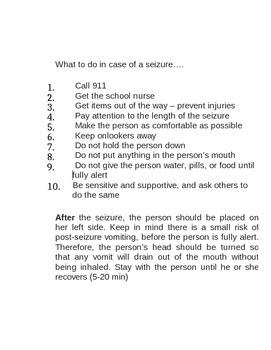 Seizure Instructions