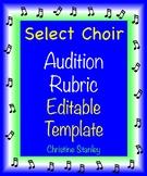 Choir Audition Rubric Editable Template