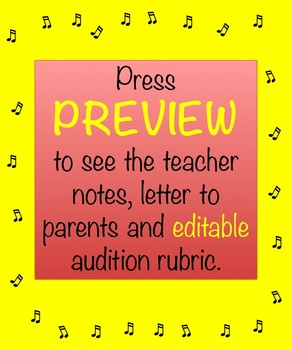Choir Audition Rubric Editable Template