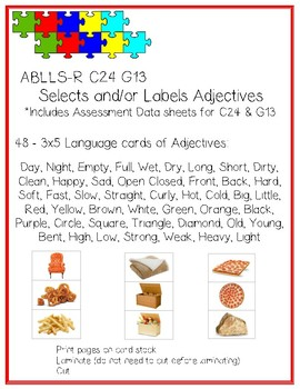Select and/or Label ADJECTIVES Language Cards ABLLS-R C24 G13