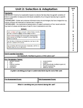 Selection & Adaptation NGSS Unit page for ISN