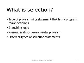 Selection (Beginning Programming)