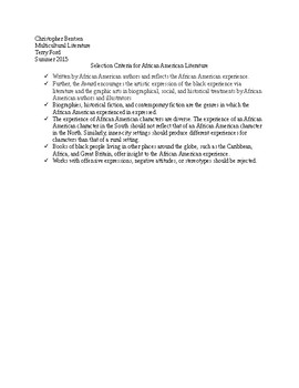 Selection Criteria for African American Literature