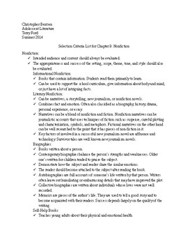 Selection Criteria for Nonfiction