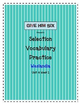 Selection Vocabulary - Weslandia Grade 5 Unit 4 Week 1