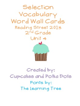 Selection Vocabulary Words- Word Wall Cards  Reading Street Unit 4