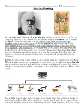 Selective Breeding / Charles Darwin Reading and Questions