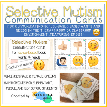 Selective Mutism Communication Cards for school-based basic wants and needs