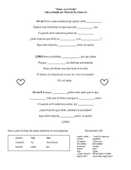 Selena Beginner Spanish Song Lyric Amor Prohibido ser, regular verbs review