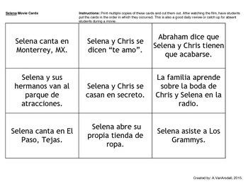 Selena Movie Cards