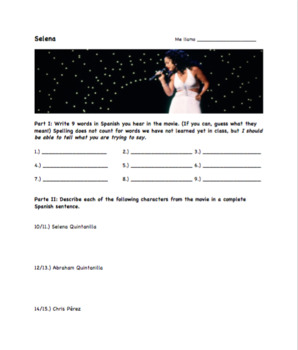selena movie worksheet by jennifer stone teachers pay teachers. Black Bedroom Furniture Sets. Home Design Ideas