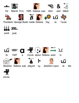 Selena - Picture supported text lesson - history facts questions visual supports
