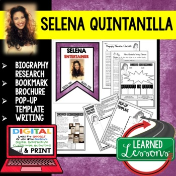 Selena Quintanilla Biography Research, Bookmark, Pop-Up, Writing