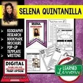 Selena Quintanilla Biography Research, Bookmark, Pop-Up, Writing
