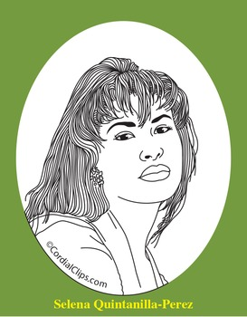 Selena Quintanilla-Perez Realistic Clip Art, Coloring Page, and Poster