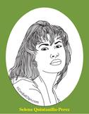 Selena Quintanilla-Perez Realistic Clip Art, Coloring Page