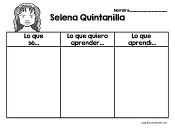Selena Quintanilla in Spanish (Actividades / Escritura Selena Quintanilla)