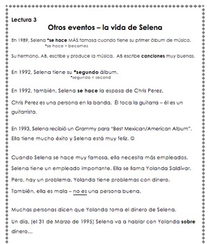 Selena Readings - Family & Life (Present Tense, Novice)